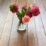 flowers on floor of meetinghouse